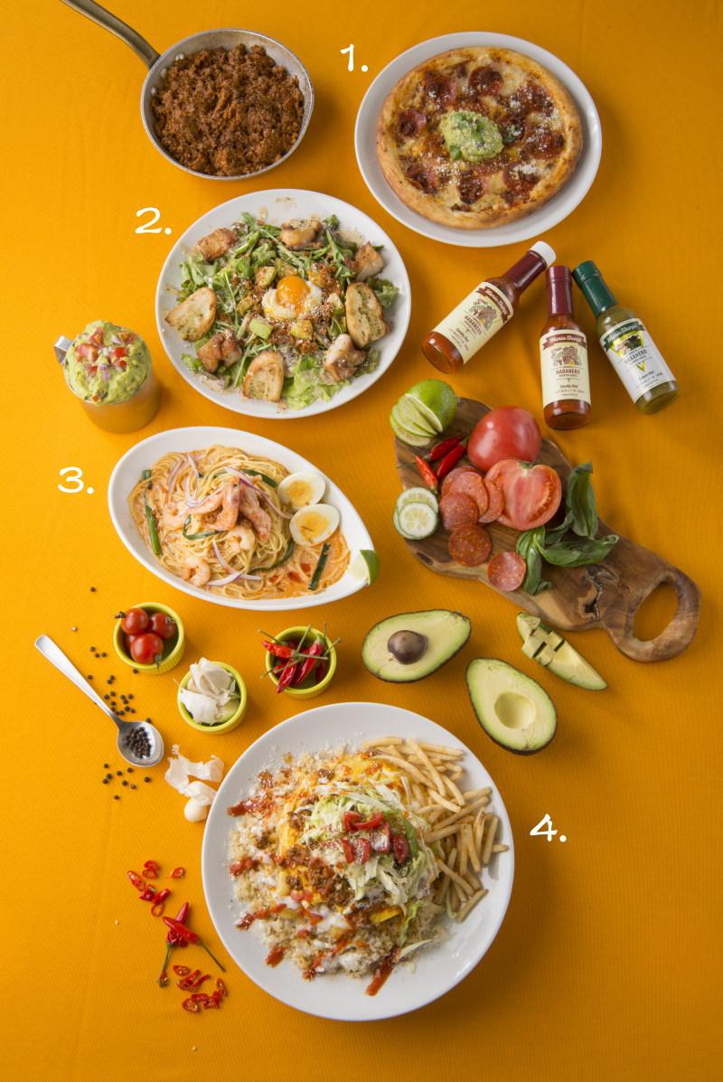 1.ぺパロ二タコス ピザ アボカドディップ 2.グリルチキンのホットパワーサラダ NYスタイル 3. シンガーポールラクサスパゲティ 4.スモーキータコオムライス
